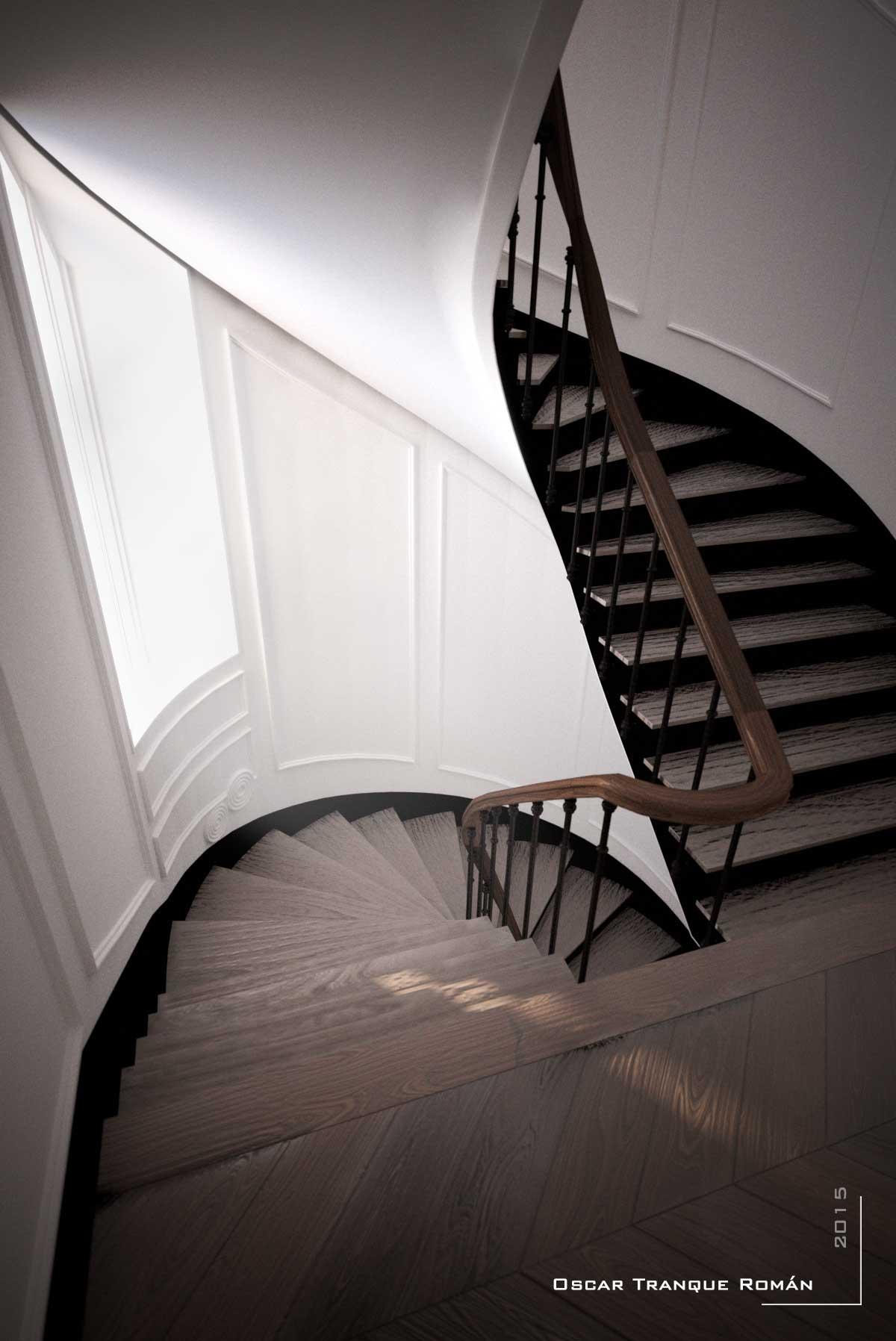 escaleras madera render infografia