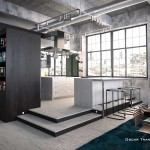 cocina loft render infografia